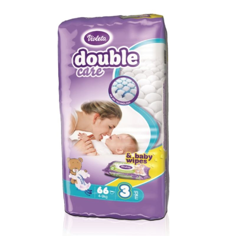 Violeta Double Care Air Dry pelene midi jumbo 4-9kg