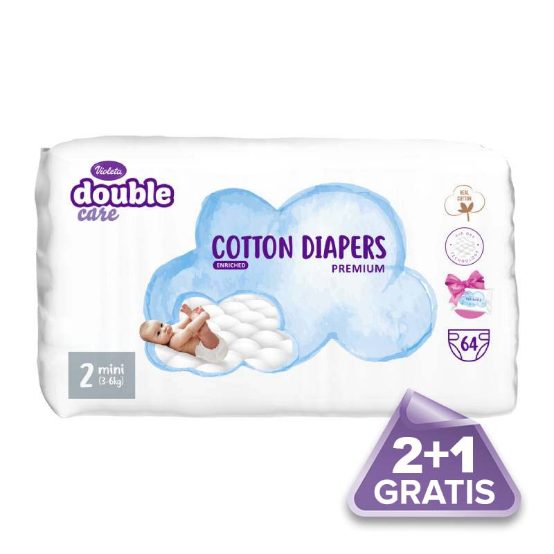 2plus1 gratis Violeta Air Dry pelene Mini Premium Cotton, 3-6 kg