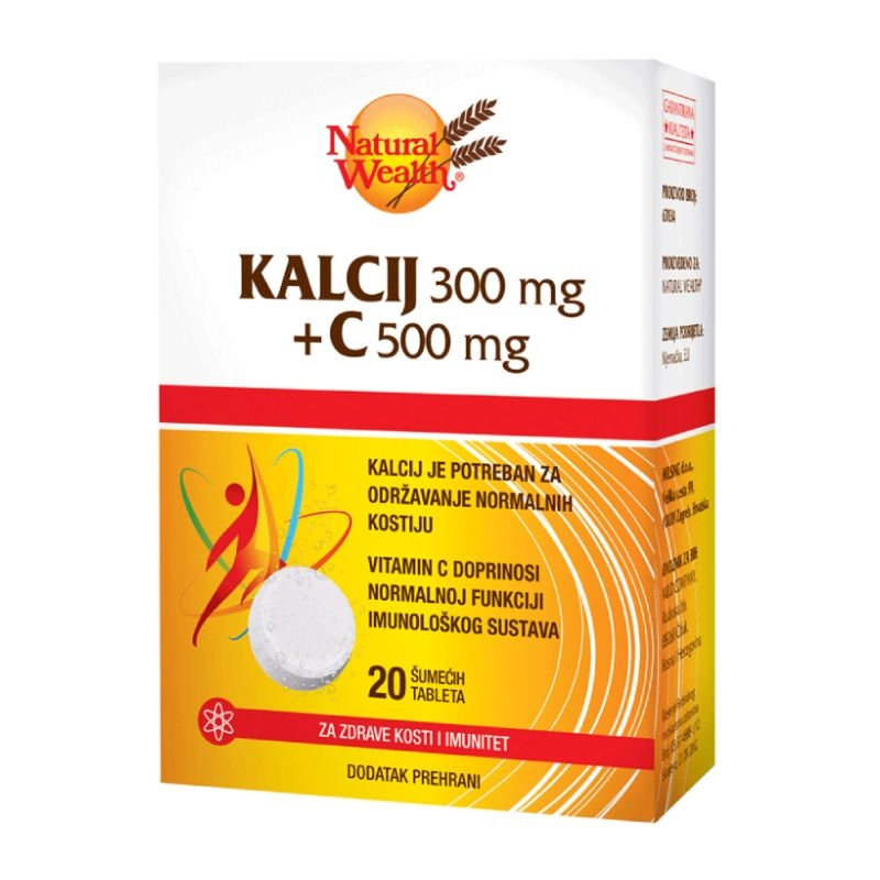 Natural Wealth Kalcij 300 mg + C 500 mg šumeće tablete 20 komada