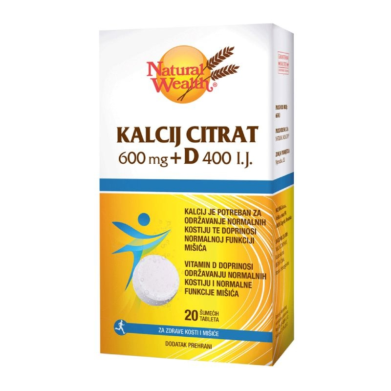 Natural Wealth Kalcij citrat 600 mg + D 400 I.J. za kosti i mišiće
