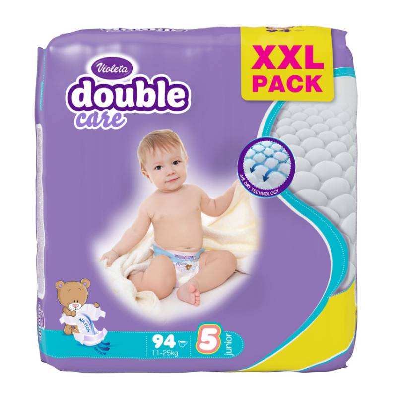 Violeta Double Care Air Dry pelene Junior jumbo 11-25 kg, 94 kom