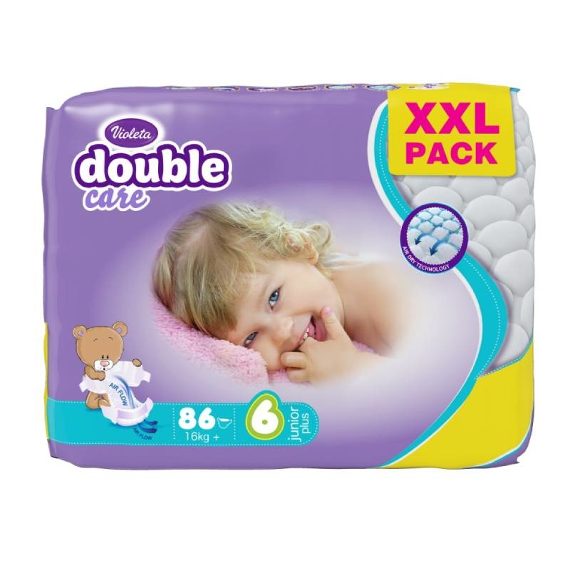 Violeta Double Care Air Dry pelene Junior plus 16+ kg, 86 kom